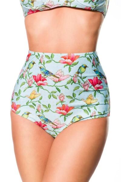 Elastischer Damen Bikiniunterteil Höschen Panty Beinausschnitt und Vögel Blüten Blumen Muster Türkis