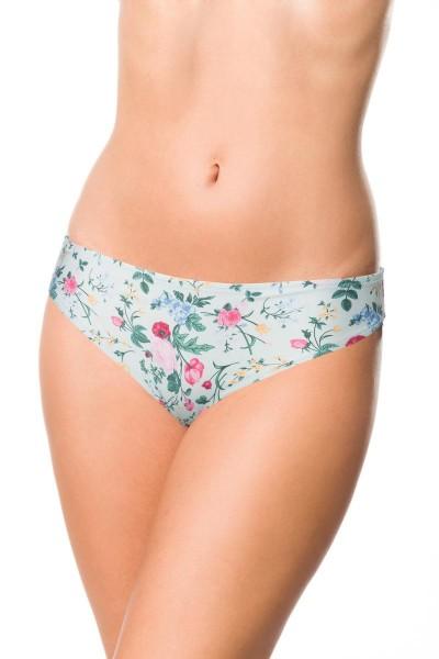 Elastisches Damen Bikiniunterteil Höschen Panty Beinausschnitt und Blätter Blüten Blumen Muster weiß