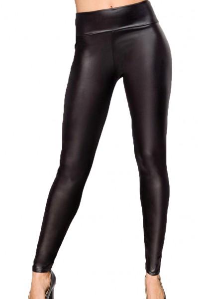 Schwarze Damen Wetlook Leggings mit hohem Bund High Waist und Strumpfhose Optik elastischer Bund