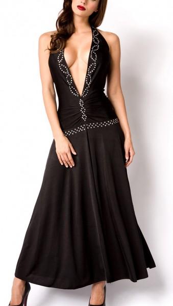 Schwarzes langes offenes Kleid mit V-Ausschnitt und Brust-Ausschnitt Strass sowie Rückenausschnitt S