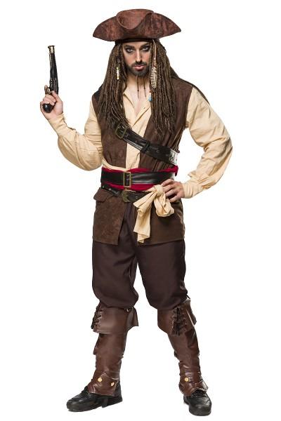 Braunes Herren Piraten Verkleidung aus Lederoptik mit Weste Hemd und Hose und Gürtel Kapitän Piraten