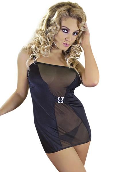 Schwarzes Chemise Minikleid dehnbar mit Verzierung Damen Dessous Kleid halbtransparent