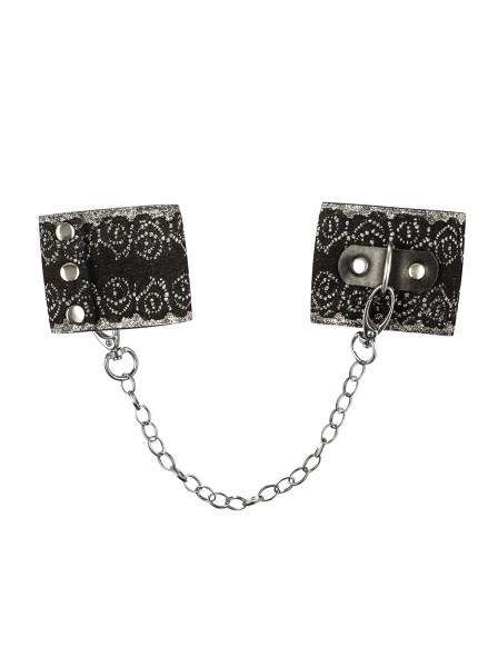 Frauen Dessous silber Handschellen aus Spitze und Metall Ketten Schwarz Metallring Bänder Größe: One