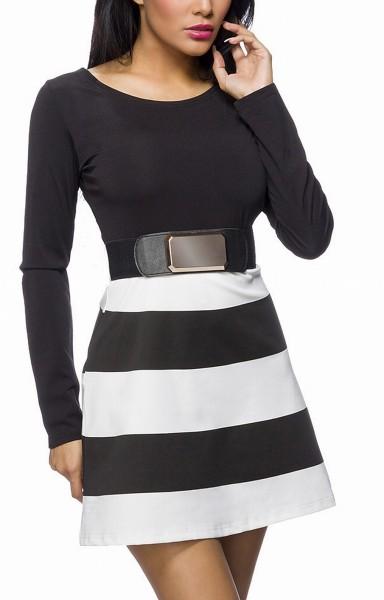 Schwarzes Minikleid mit weißen Streifen und tollem Taillengürtel mit Druckknöpfen