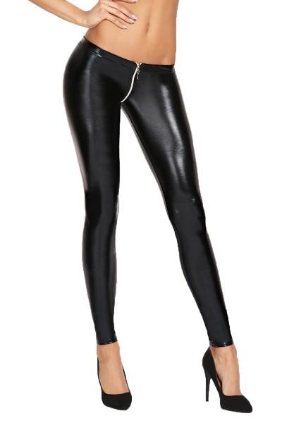Schwarze Damen Wetlook Leggings Hose skinny mit Gummibund und Reißverschluss