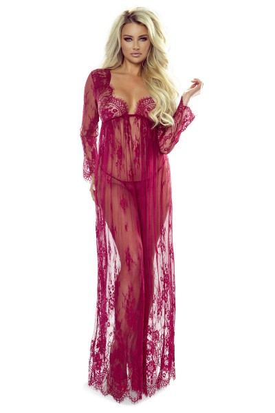 Langes weinrotes Nacht Kleid Chemise aus Slipte mit String transparent dehnbar aus Netz Stoff