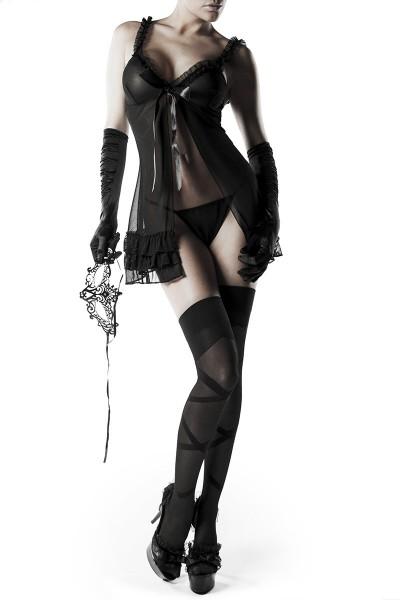 Erotik Set mit Negligee Handschuhen Strümpfen Maske und String Dessous Set
