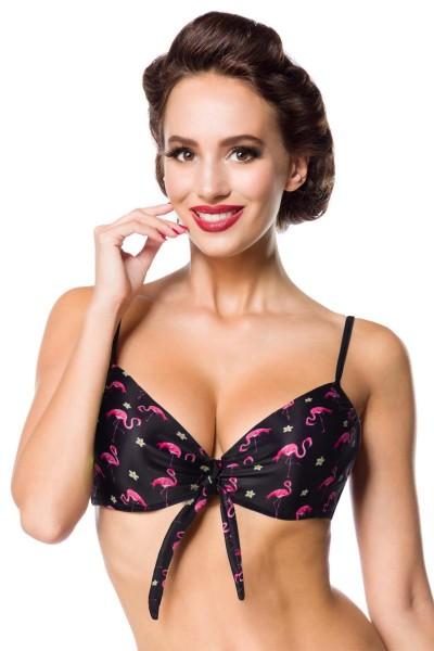 Elastisches Damen Bikinioberteil Bra am Rücken zum binden BH gepolstert und Flamingo Muster schwarz