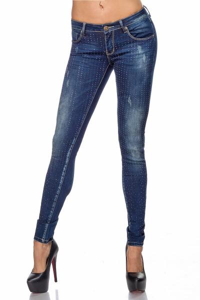 Blaue Damen Jeans mit Strass und aufgesetzten Gesäßtaschen Five-Pocket-Style mit Waschung