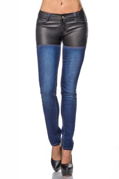 Blaue Damen Jeans mit Wetlook Einsätzen und Kunstleder Five-Pocket-Style Röhrenjeans