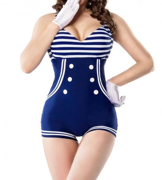 Retro Vintage Damen Badeanzug gepaddet blau weiß mit Zierschleife Bademode Marine Look