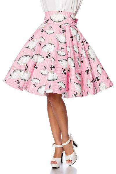 Rosa ausgestellter Vintagerock mit Prinzessinmuster mit Falten Tellerrock und hohem Bund Reißverschl