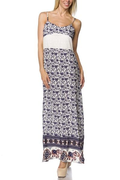 Orientalisches Damen Mixikleid weiß blau gemustert mit Reißverschluss und Spitze Sommerkleid Abendkl