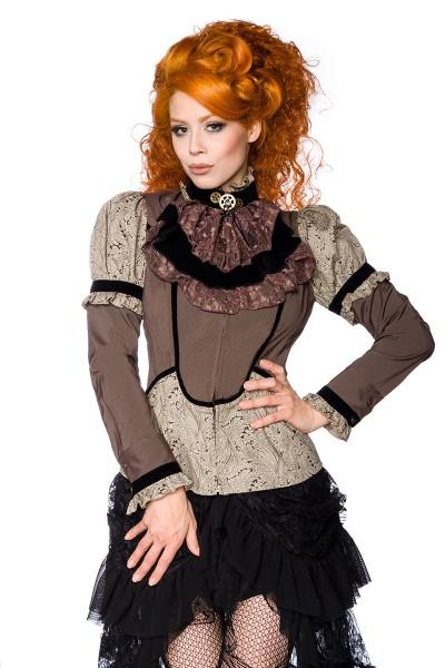 Braune Steampunk Bluse aus Samt und Spitze im Paisley Muster mit abnehmbaren Stehkragen Zahnräder Ja