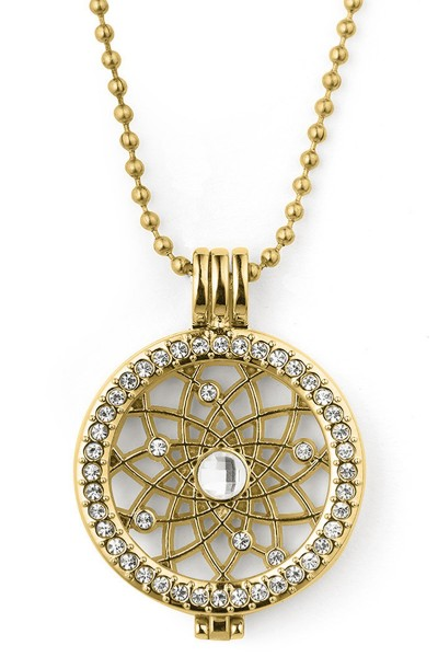 Kette mit Medaillon Kugelkette aus Metrall und Strassteinen Schmuck Anhänger gold