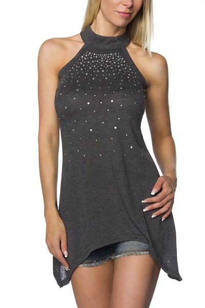 Damen Neckholder Longtop in schwarz mit Strass und stehkragen Sommer Minikleid Top