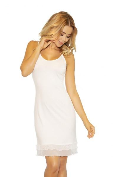 Weißes Frauen Nachtkleid Dessous Chemise blickdicht dehnbar erotisches Mini-Kleid knielang beige