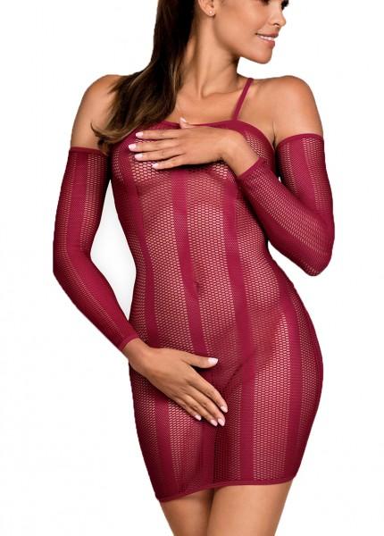 Frauen Dessous Babydoll Minikleid in Rot mit langen Ärmeln aus Stretch und Netz transparent erotisch