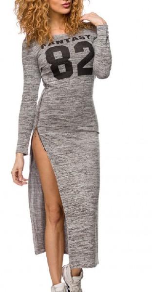 Graues langes Kleid mit seitlich geschlitzem Reißverschluss im Baseball Design Maxikleid