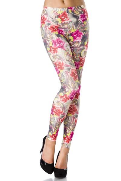 Bunte Legging mit Blumen Rosen Druck blickdicht, weich und dehnbar Damen Hose Leggings Gtröße S-M