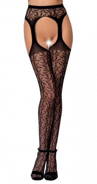Erotische Damen Dessous ouvert Strumpfhose im Schritt offen Straps Look Strümpfe und Strapsgürtel On