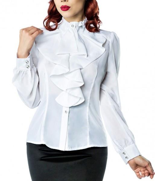 Weiße Rüschen Schluppenbluse mit Jabot und Strassknöpfen Stehkragen Rockabilly Bluse Damen Retro S