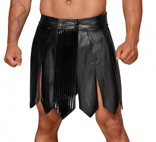 Herren Verkleidung Kunstleder wetlook Gladiator Rock mit PVC Zierfalten knielang Party Gogo