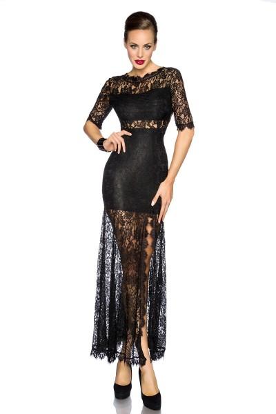 Schwarzes langes Abendkleid mit tiefem Rückenausschnitt mit Spitze und Blumenmuster