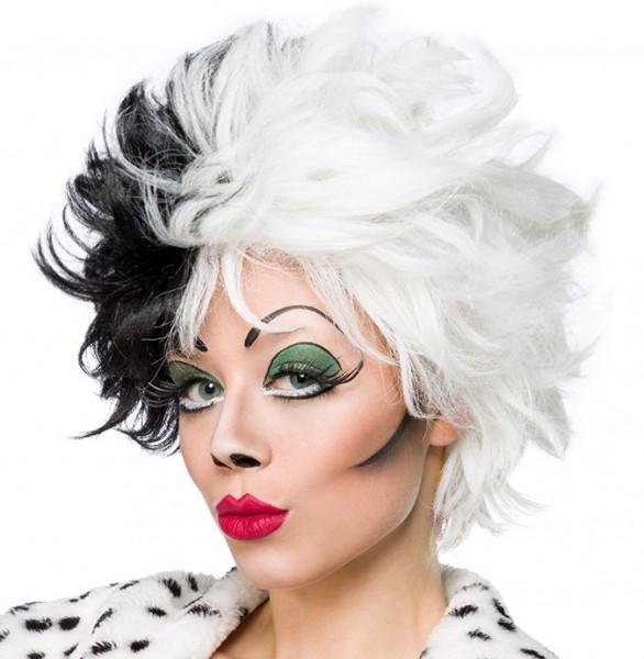 Schwarz weiße Damen Kurzhaar Perücke Wig mit gestuftem Haar kurz Evil Dalmatian Lady Perücke