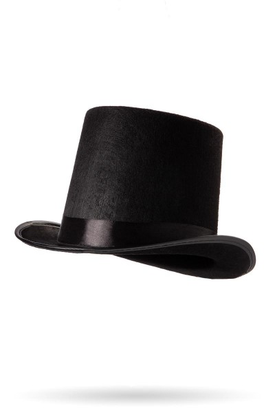 Schwarzer Damen Zylinder mit eingefasste Krempe Schwarzem Satin Band und Fasching Verkleidung Hut
