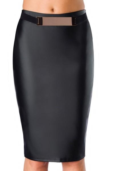 Schwarzer kunstelder Bleistiftrock mit Gürtel dehnbar elastisch knielang Damen Rock in Lederoptik
