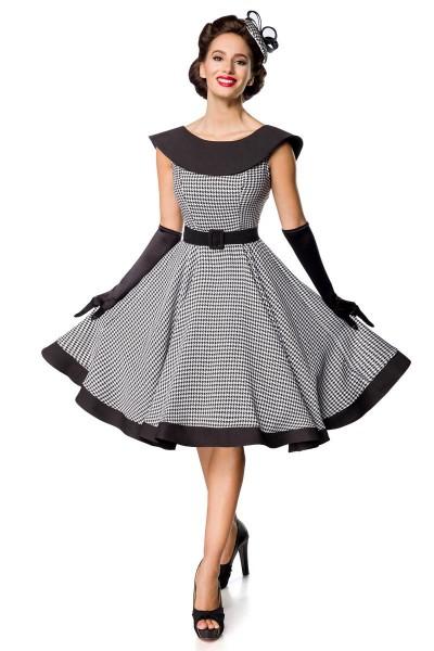 Retro Damen Swingkleid in weiß mit schwarzen Hahnentrittmuster Vintagekleid mit ohne Ärmeln und groß