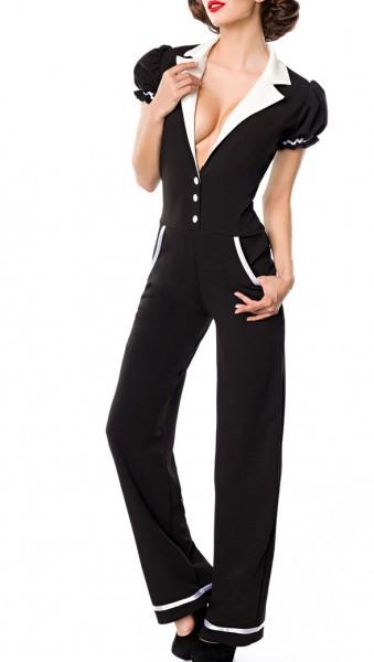 Schwarz weißer langer Retro Overall mit Eingriffstaschen und tiefem Ausschnitt Schlaghose Puffärmel
