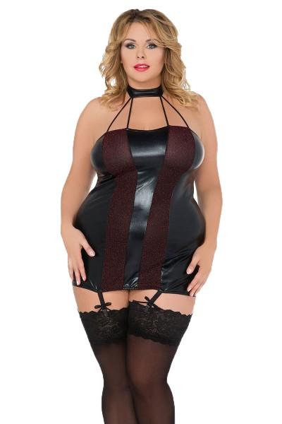 Damen XXL Dessous Chemise wetlook Negligee in schwarz Neckholder-Nachtkleid mit Strapshalter