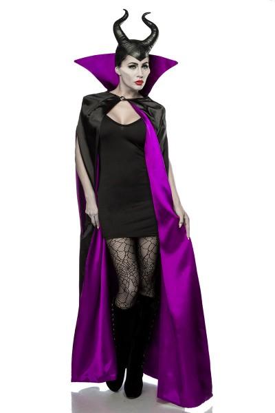 Damen Halloween Feen Teufel Kostüm aus Cape, Kleid, Strumpfhose, Hörnermaske in schwarz/lila OneSize