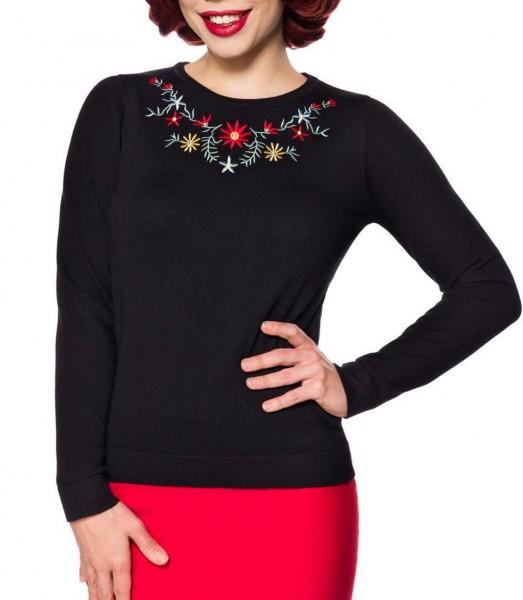 Schwarzer langer Damen Strick-Pullover mit langen Ärmeln und Blumenmuster Retro zum hochgeschlossen