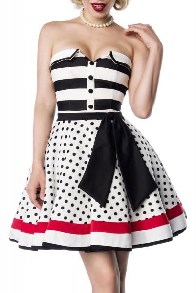 Schulterfreies Damen Bandeau Vintagekleid mit weiß schwarzen Streifen und schwarzen Knöpfen gepunkte