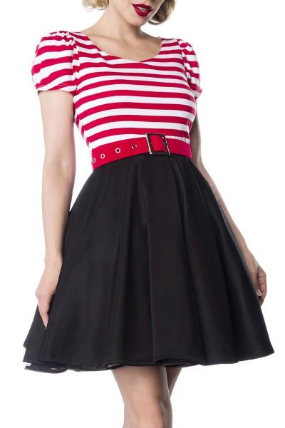 Jersey Damen gestreiftes Vintagekleid mit weiß schwarzen Streifen und rotem Gürtel im Marine Look au