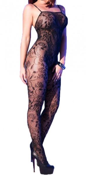 Damen Bodystocking in schwarz transparent mit floralem Muster ouvert elastisch One Size S/M