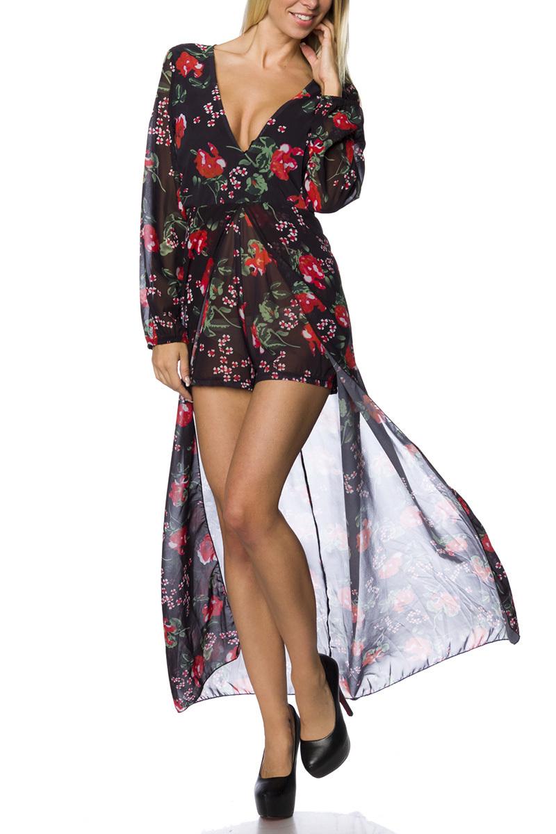 Sommerkleid schwarz rot floral, Kleid langärmlig mit ...