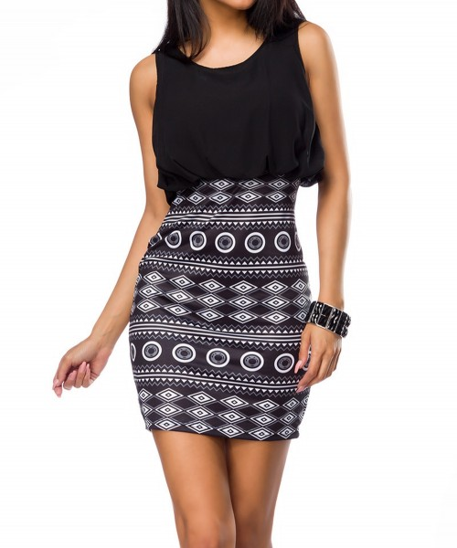 Schwarz weißes Minikleid mit Chiffon Oberteil und gemustertem Rockteil Damen Abendkleid knielang