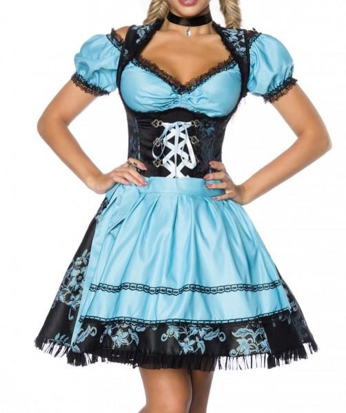 Dirndl Kleid Kostüm mit Bluse und Schürze aus Jacquard Stoff und Spitze Oktoberfest Dirndl blau/schw
