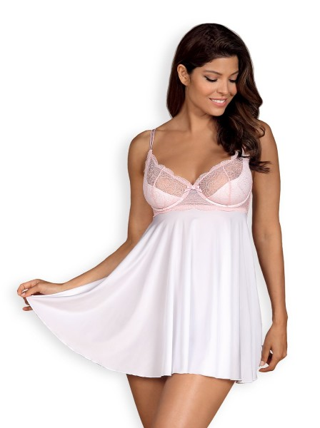 Frauen Dessous Babydoll Minikleid in Weiß mit Schleife aus Stretch und floraler Spitze transparent e