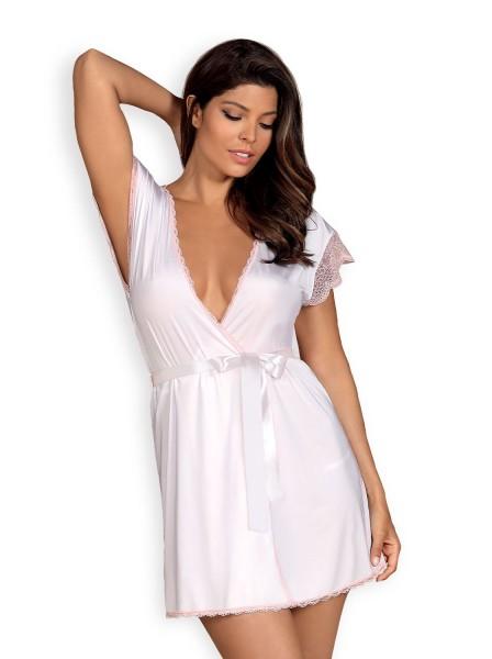 Frauen Dessous Morgenmantel Spitzen Peignoir in rosa weiß mit String elastisch zum binden Satingürte