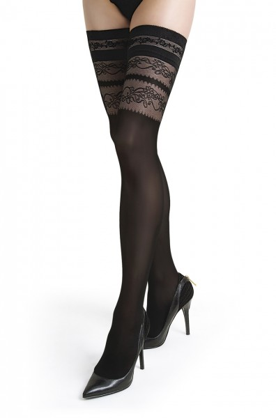 Damen Dessous halterlose Strümpfe aus Spitze in schwarz Stockings mit Silikonstreifen 40 den