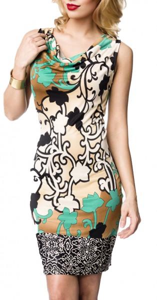 Kurzes grünes Sommerkleid mit Wasserfallausschnitt und farblich abgesetzter Saumborte