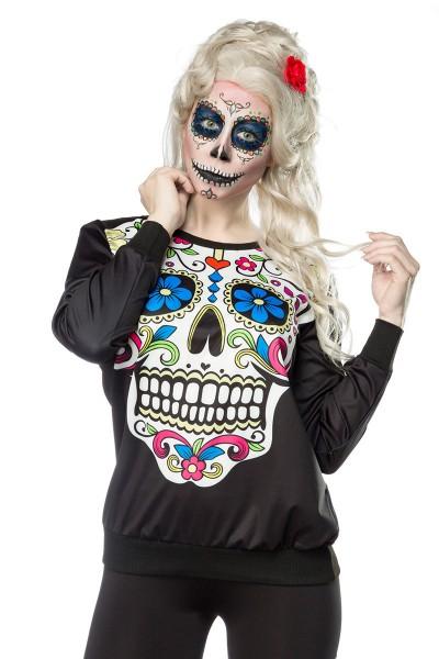 Buntes Damen Totenkopf Sweatshirt mit Totenkopf und Rosen Print Sweatshirt Faschingsverkleidung Outf