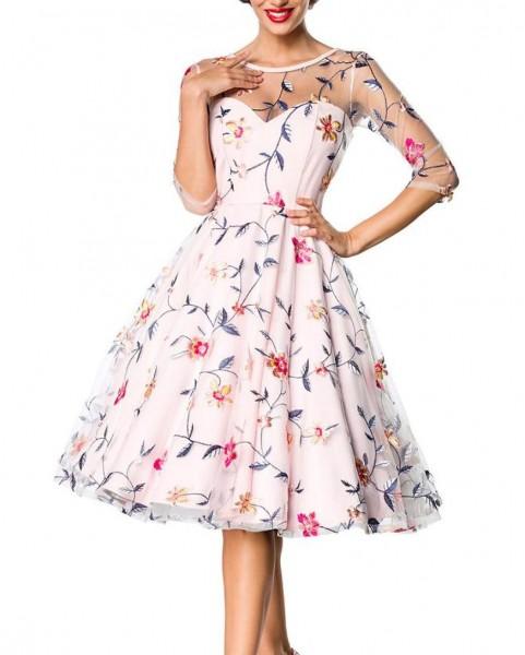 Rosa geblümtes knielanges Swing Kleid im High Waist Schnitt mit Netz und Stickereien und Herz-Aussch