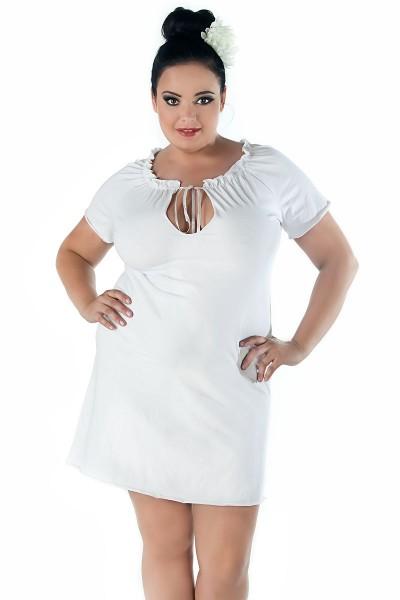 Damen Dessous Chemise in weiß mit Dekollette und kurzen Ärmeln erotisches Nachtkleid Negligee weich