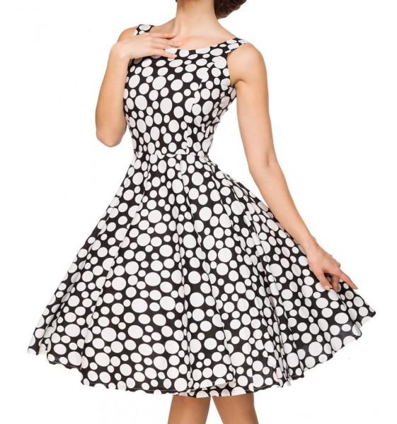Schwarzes kurzes Swing Kleid im High Waist Schnitt mit Taillennaht und Tellerrock weiß gepunktet und